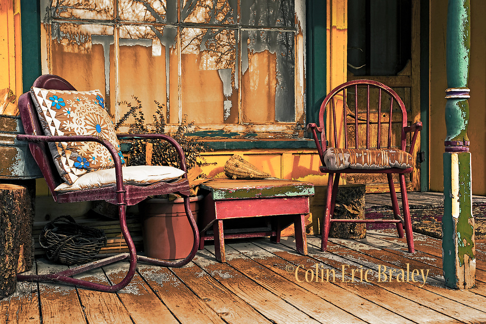 Wall Art of Rustic Porch for Sale- Photo of an old rustic looking porch at a 19th century home in Montana. Photo by Colin E. Braley