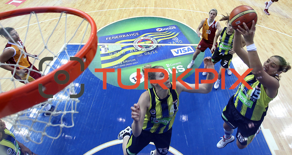 Fenerbahce's  İvana Matovic (R) during their Turkish Basketball woman league derby match Fenerbahce between Galatasaray at Ulker Sports Arena in Istanbul, Turkey, wednesday, December 26, 2012. Photo by Aykut AKICI/TURKPIX