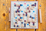 A Scrabble game board at Francie's Hut, a backcountry cabin in Arapaho National Forest, Colorado.