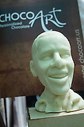Bust of Barack Obama cast in white chocolate by ChocoArt, in the Ecuador Trade Office booth.