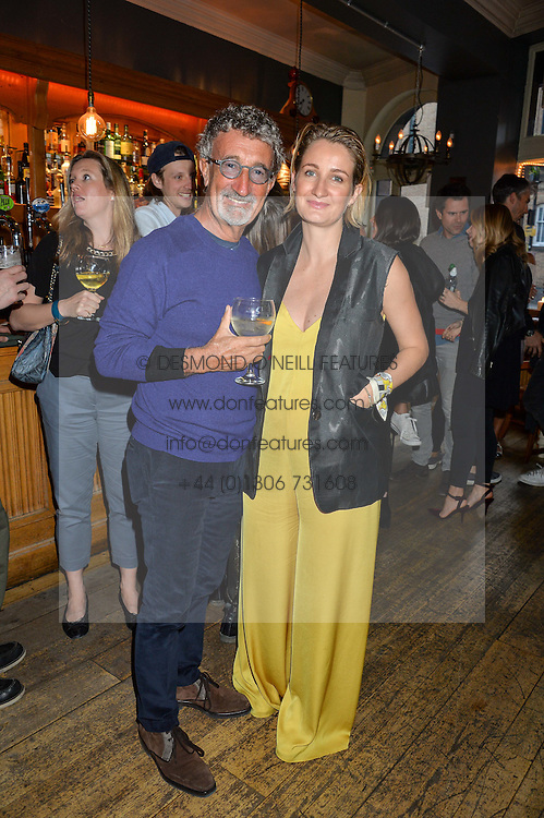 EDDIE JORDAN and his daughter ZOE JORDAN at a quiz night hosted by Zoe Jordan to celebrate the launch of her men's ZJKNITLAB collection held at The Larrick Pub, 32 Crawford Place, London on 20th April 2016.