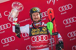 Marcel Hirscher of Austria during the flower ceremony Men's Slalom race of FIS Alpine Ski World Cup 57th Vitranc Cup 2018, on March 4, 2018 in Kranjska Gora, Slovenia. Photo by Urban Meglič / Sportida