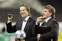 Fotball / Football<br /> UEFA Champions League 2005/2006<br /> 28.09.2005<br /> Rosenborg v Lyon<br /> Photo: Morten Olsen, Digitalsport<br /> <br /> Jan Åge Fjørtoft (L) - Lillestrøm and TV3 together with Knut Torbjørn Eggen - Fredrikstad and TV3