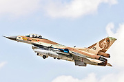 """Israeli Air Force (IAF) General Dynamics F-16C in flight.  Photographed at the  """"Blue-Flag"""" 2017, an international aerial training exercise hosted by the Israeli Air Force (IAF) at Ouvda airfield, Israel. November 2017"""