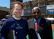 IAAF President Lamine Diack (right) and USA Track & Field CEO Craig Masback at the 110th Penn Relays at the University of Pennsylvania's Franklin Field on Saturday, April 24, 2004 in Philadelphia.