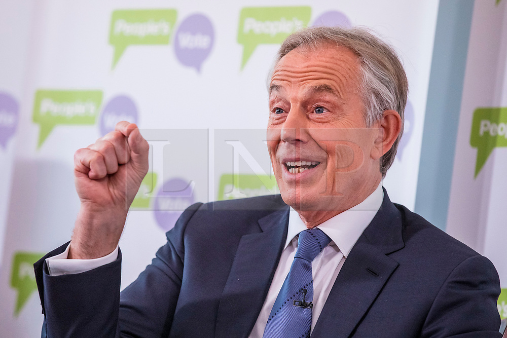 © Licensed to London News Pictures. 14/12/2018. London, UK. Former Prime Minister Tony Blair gives a speech at a People's Vote event in central London. Photo credit: Rob Pinney/LNP