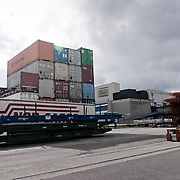 Three weeks aboard the Kong Harald. Hurtigruten, the Coastal Express. Bergen. The container harbour of Bergen.