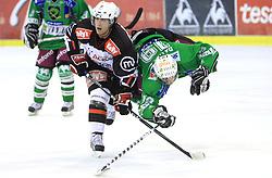 Mitja Robar and Ziga Pance at 39th Round of EBEL League ice hockey match between HDD Tilia Olimpija and Acroni Jesenice, on December 30, 2008, in Arena Tivoli, Ljubljana, Slovenia. Tilia Olimpija won 4:3. (Photo by Vid Ponikvar / SportIda).