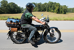 Sante Mazza riding his 1926 Moto Frera during Stage 3 of the Motorcycle Cannonball Cross-Country Endurance Run, which on this day ran from Columbus, GA to Chatanooga, TN., USA. Sunday, September 7, 2014.  Photography ©2014 Michael Lichter.