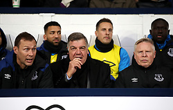 Everton manager Sam Allardyce (centre) with Duncan Ferguson (left) and Sammy Lee (right) during the Premier League match at The Hawthorns, West Bromwich.