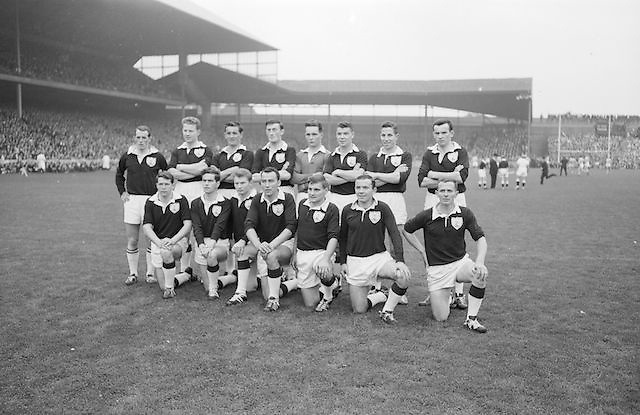 The Galway team before the All Ireland Senior Gaelic Football Championship Final Dublin v Galway in Croke Park on the 22nd September 1963. Dublin 1-9 Galway 0-10.<br /> Back Row Left to right S Leyden, M McDonagh, N Tierney, M MacReynolds, M Moore, E Colleran and S Meade,( People nine and ten from left unidentified).Front Row Left to Right S Donnellan, C Dunne, J Keenan, B Geraghty, M Garrett Captain, S B McDermott, P Donnellan, M Newell, (people nine and ten unidentified. from left).Substitutes T Farrell, S Brennan, J Keeley, B Geraghty.