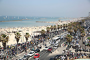 Thousands of people gather on the promenade and beach as part of Independence Day celebrations in Tel-Aviv, Israel April 15, 2021. People gathered in their masses at Tel-Aviv's shore line as the Jewish state celebrates 73 years to it's establishment. As vast percentage of the population are vaccinated, celebrations were able to take place in a some what ordinary manner.Starting Sunday April 18, 2021, it will no longer be mandatory to wear a protective mask in open spaces throughout the country.