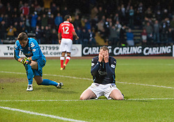 Dundee's David Clarkson after a missed chance. <br /> Dundee 1 v 1 Ross County, SPFL Premiership game player 4/1/2015 at Dundee's home ground Dens Park.