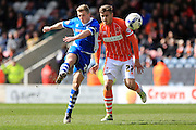 Jamie Allen shoots during the Sky Bet League 1 match between Rochdale and Blackpool at Spotland, Rochdale, England on 16 April 2016. Photo by Daniel Youngs.