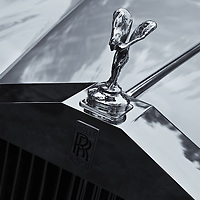 """""""Rockin the Rolls"""" mono<br /> <br /> The classic Rolls Royce hood ornament and grille view in black and white!!<br /> <br /> Cars and their Details by Rachel Cohen"""