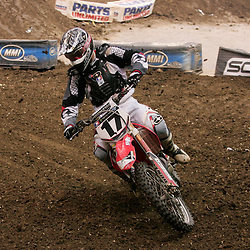 14 March 2009: Timmy Ferry (17) rides in a qualifying heat during the Monster Energy AMA Supercross race at the Louisiana Superdome in New Orleans, Louisiana