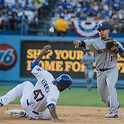 July 04 2015 - Los Angeles U.S. CA - NY Mets # 11 2B Ruben Tejada make a big play at second and first base  during MLB game between LA Dodgers and  NY Mets 3-4 lost at Dodgers Stadium Los Angeles Calif. Thurman James / CSM