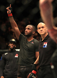 Leon Edwards reacts after beating Peter Sobotta in their Welterweight fight at The O2 Arena, London.