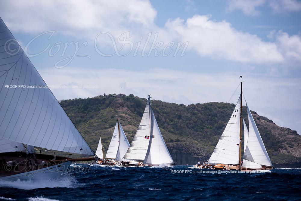 The Blue Peter sailing in the Antigua Classic Yacht Regatta, Windward Race.