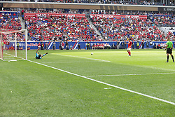July 28, 2018 - Harrison, New Jersey, United States - Goalkeeper Mattia Perin of Juventus saves penalty during ICC game against Benfica at Red Bull Arena Juventus won 1 - 1 (4 -2) on penalties (Credit Image: © Lev Radin/Pacific Press via ZUMA Wire)