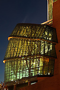 Canadian Museum for Human Rights (CMHR). Glass (cloud) facade at night<br /> Winnipeg<br /> Manitoba<br /> Canada