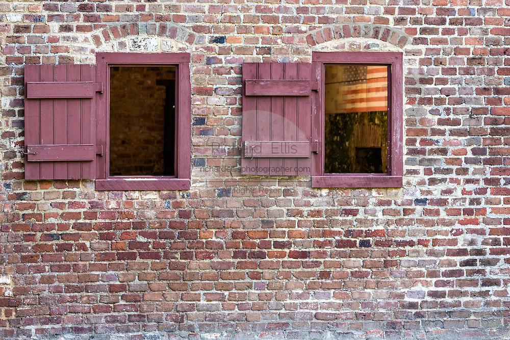 Windows on a civil war era slave cabin at Boone Hall Plantation in Mt Pleasant, South Carolina.