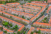 Nederland, Zuid-Holland, Leiden, 09-05-2013; Rode daken en dakpannen in de Burgemeesters- en Professorenwijk.  <br /> Leiden, residential neighbourhood<br /> luchtfoto (toeslag op standard tarieven)<br /> aerial photo (additional fee required)<br /> copyright foto/photo Siebe Swart