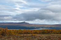 Autumn mountain landscape south of Jäkkvik along Kungsleden Trail, Lapland, Sweden