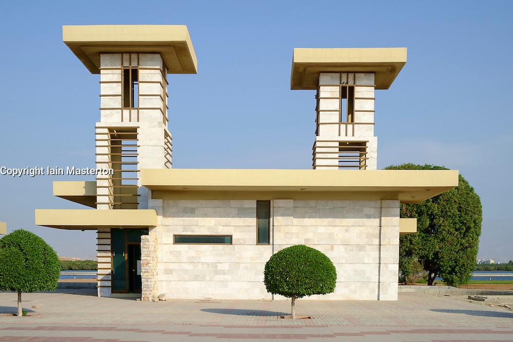 Modern public pavilion buildings on Corniche in Ras al Khaimah  (RAK) emirate in United Arab Emirates