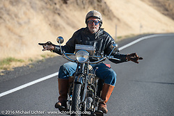 """HenderZen"" - Frank Westfall riding his 1928 Henderson Deluxe during Stage 15 (244 miles) of the Motorcycle Cannonball Cross-Country Endurance Run, which on this day ran from Lewiston, Idaho to Yakima, WA, USA. Saturday, September 20, 2014.  Photography ©2014 Michael Lichter."