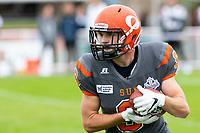 KELOWNA, BC - SEPTEMBER 22: Tyson Mastrodimos #9 of Okanagan Sun runs with the ball against the Valley Huskers  at the Apple Bowl on September 22, 2019 in Kelowna, Canada. (Photo by Marissa Baecker/Shoot the Breeze)