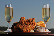 Fried Chicken and  champagne from Max's Wine Dive.