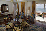 Room 701 at Lapa Palace Hotel in Lisbon has a 180º panorama view over Tagus river, and a private tower.