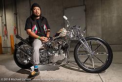 Queen Lekha Choppers' Yayack Lekha with his Harley-Davidson Knucklehead chopper at the 27th Annual Mooneyes Yokohama Hot Rod Custom Show 2018. Yokohama, Japan. Sunday, December 2, 2018. Photography ©2018 Michael Lichter.