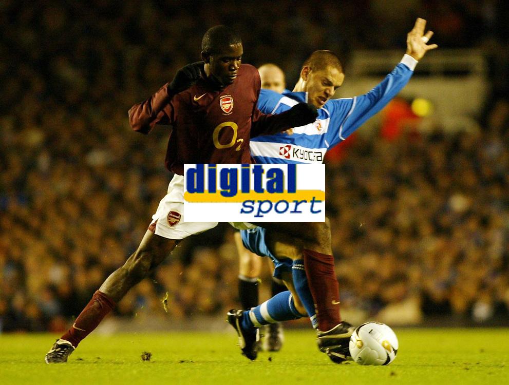 Photo: Chris Ratcliffe.<br /> Arsenal v Reading. Carling Cup. 29/11/2005.<br /> Fabrice Muamba of Arsenal tackles Ivar Ingimarsson of Reading