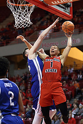 21 February 2018:  Elijah Clarance during a College mens basketball game between the Drake Bulldogs and Illinois State Redbirds in Redbird Arena, Normal IL