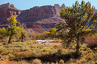 The faithfull Cessna 170b parked at Mexcian Mountain in the San Rafael Swell