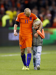 (L-R) Arjen Robben of Holland, Luka Robben during the FIFA World Cup 2018 qualifying match between The Netherlands and Sweden at the Amsterdam Arena on October 10, 2017 in Amsterdam, The Netherlands
