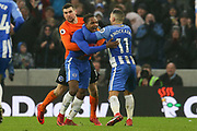 Brighton and Hove Albion midfielder Jose Izquierdo (19) celebrates his goal with Brighton and Hove Albion midfielder Anthony Knockaert (11) and Brighton and Hove Albion goalkeeper Mathew Ryan (1) during the Premier League match between Brighton and Hove Albion and West Ham United at the American Express Community Stadium, Brighton and Hove, England on 3 February 2018. Picture by Phil Duncan.