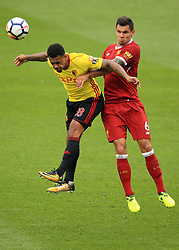 12 August 2017 -  Premier League - Watford v Liverpool - Andre Gray of Watford in action with Dejan Lovren of Liverpool - Photo: Marc Atkins / Offside.