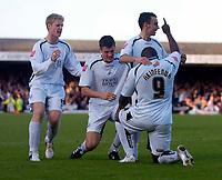 Photo: Alan Crowhurst.<br />Southend Utd v Swansea City. Coca Cola League 1.<br />12/11/2005. Adebayo Akinfenwa celebrates his goal with team mates.