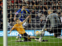 Photo: Jed Wee/Sportsbeat Images.<br /> Hull City v Cardiff City. Coca Cola Championship. 01/12/2007.<br /> <br /> Cardiff's Joe Ledley sees his shot saved by Hull goalkeeper Boaz Myhill.