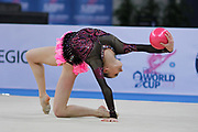 Chalopin Lucille during qualifying at ball in Pesaro World Cup at Adriatic Arena on April 26, 2013. Lucille is a French individual rhythmic gymnast was born on 4 March 1996 in Paris.