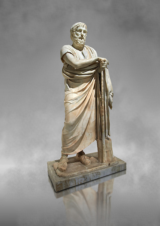 Roman marble sculpture of Homer from the rectangular peristyle of the Villa of the Papyri in Herculaneum, Naples Museum of Archaeology, Italy .<br /> <br /> If you prefer to buy from our ALAMY PHOTO LIBRARY  Collection visit : https://www.alamy.com/portfolio/paul-williams-funkystock - Scroll down and type - Roman Sculpture Naples  - into LOWER search box. {TIP - Refine search by adding a background colour as well}.<br /> <br /> Visit our ROMAN ART & HISTORIC SITES PHOTO COLLECTIONS for more photos to download or buy as wall art prints https://funkystock.photoshelter.com/gallery-collection/The-Romans-Art-Artefacts-Antiquities-Historic-Sites-Pictures-Images/C0000r2uLJJo9_s0