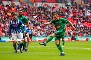 Cray Valley's Danny Smith (3) shoots towards the goal during the FA Vase final match between Chertsey Town and Cray Valley at Wembley Stadium, London, England on 19 May 2019.