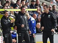 27/09/14 SCOTTISH PREMIERSHIP<br /> ST MIRREN v CELTIC <br /> ST MIRREN PARK - PAISLEY<br /> Celtic manager Ronny Deila and John Collins sigh relief as their side go 2-1 up