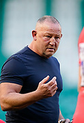 Sale Sharks Director of Rugby Steve Diamond gets his thought across to his players on the pitch at half time during the Gallagher Premiership Rugby match Northampton Saints -V- Sale Sharks won by Sale 34-14 at Franklin's Gardens, Northamptonshire ,England United Kingdom, Tuesday, September 29, 2020. (Steve Flynn/Image of Sport)