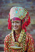 Female dancer at cultural event in Bhaktapur, Nepal
