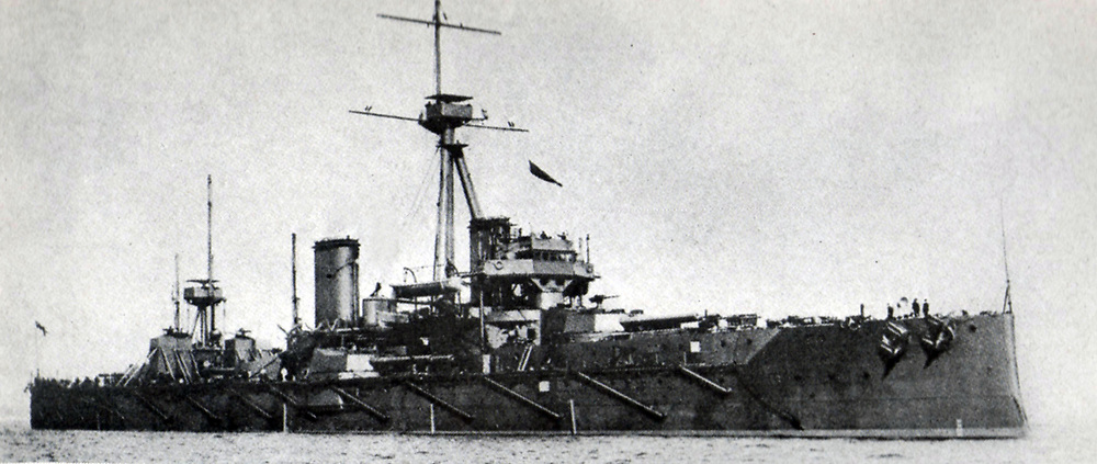 HMS 'Dreadnought':  The first modern battleship, she was built at the Royal Naval Dockyard, Portsmouth, England, and brought into service in 1906.  Decommissioned in 1919, she was scrapped in 1923.
