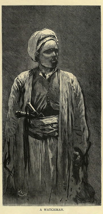 wood engraving of A watchman From the book 'Picturesque Palestine, Sinai and Egypt : social life in Egypt; a description of the country and its people' with illustrations on Steel and Wood by Wilson, Charles William, Sir, 1836-1905; Lane-Poole, Stanley, 1854-1931. Published by J.S. Virtue in London in 1884